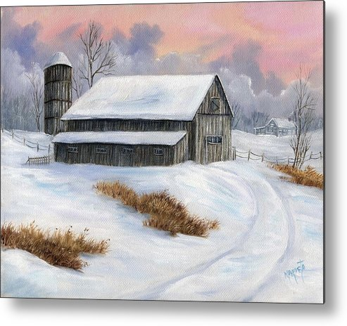 Landscape Snow Landscape Metal Print featuring the painting Winter Moment by Marveta Foutch