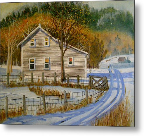Landscape Metal Print featuring the painting Wintery Country Road by Teresa Boston