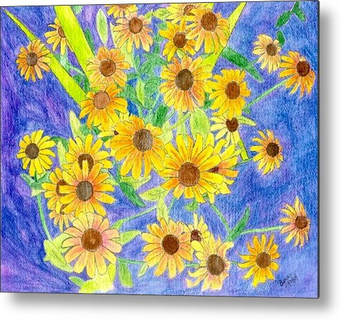 Watercolor Metal Print featuring the digital art Black Eyed Susan by Margie Byrne