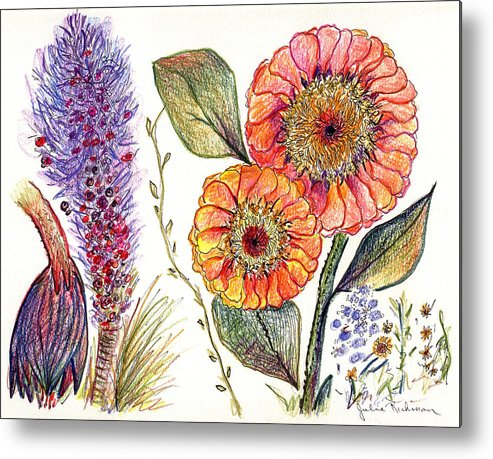 Painting Drawing Flowers Nature Abstract Prints Botany Pencil Colorful Metal Print featuring the painting Botanical Flower-49 by Julie Richman