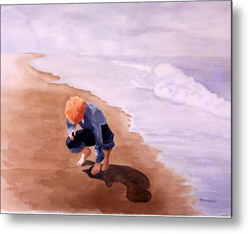 Family Metal Print featuring the painting Boy On The Beach by Robert Thomaston