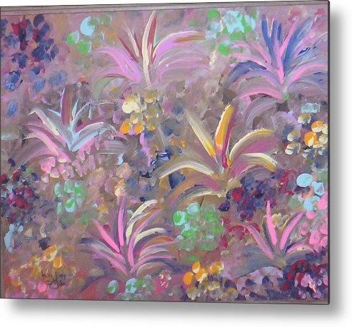 Landscape Metal Print featuring the painting Flowers In Spring by Lindsay St john