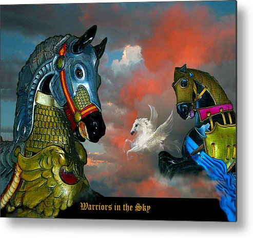 Horses Metal Print featuring the digital art Warriors In The Sky by Bette Gray