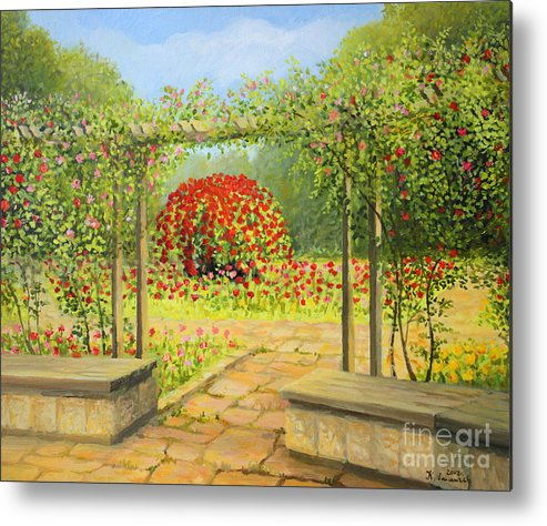 Art Metal Print featuring the painting In The Rose Garden by Kiril Stanchev