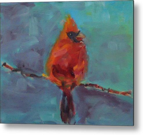 Bird Metal Print featuring the painting Oklahoma Cardinal by Susie Jernigan