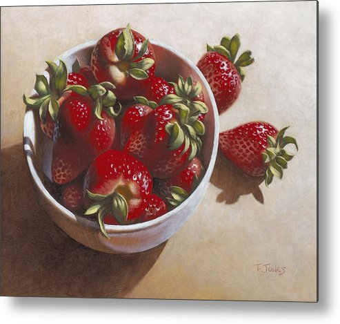 Strawberries Metal Print featuring the painting Strawberries In China Dish by Timothy Jones