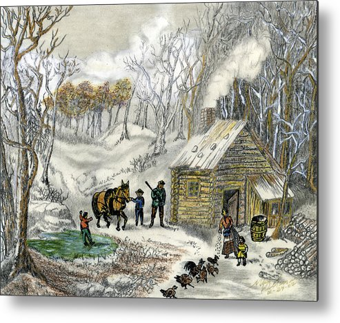 Log Cabin In Wisc. Metal Print featuring the mixed media Dinner Is On by Mark Villemure