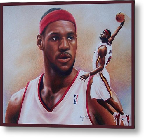 Lebron Metal Print featuring the drawing Lebron James by Cory McKee