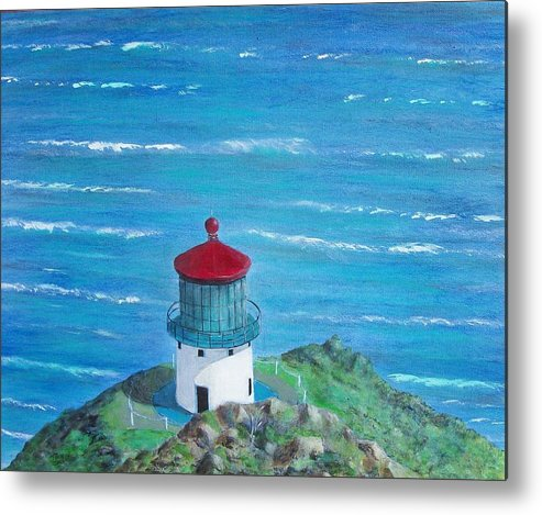 Lighthouse Metal Print featuring the painting Lighthouse by Tony Rodriguez