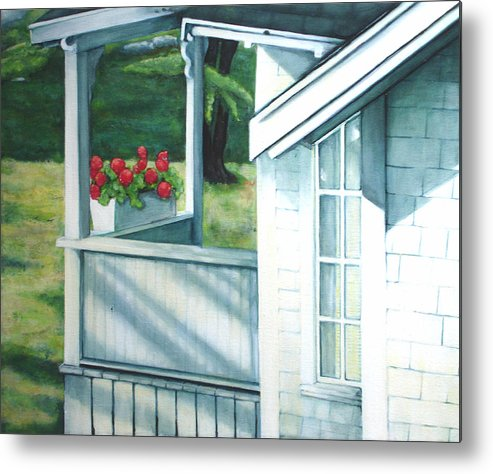 White Porch In Maine With Red Geraniums. Metal Print featuring the painting Maine Porches Number One by Leo Malboeuf