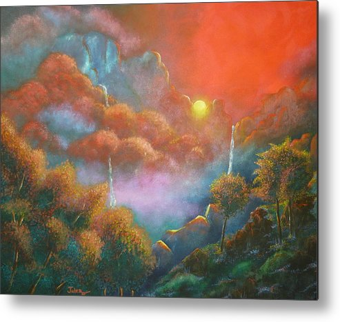 Landscape Metal Print featuring the painting Mystic Sunrise by Julie Buell