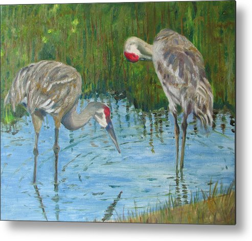 Marsh Metal Print featuring the painting Two Cranes by Libby Cagle
