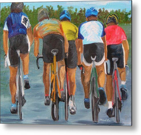 Cycling Metal Print featuring the painting A Nice Day For A Ride by Michael Lee