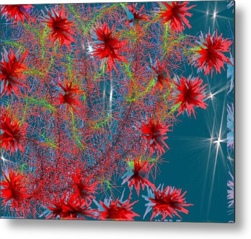 Flowers.evening.stars.sky.corall Tree.transparent Evening. Metal Print featuring the digital art Almog-corall Tree by Dr Loifer Vladimir