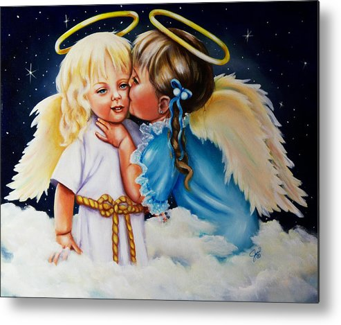 Angels Metal Print featuring the painting Angel Kiss by Joni McPherson