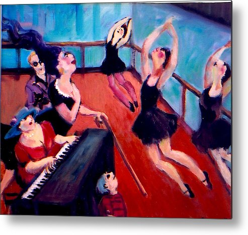Metal Print featuring the painting Ballet Class by Anne Marie Bourgeois