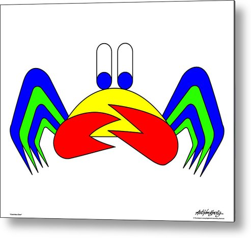 Metal Print featuring the digital art Crab-mac-claw by Asbjorn Lonvig