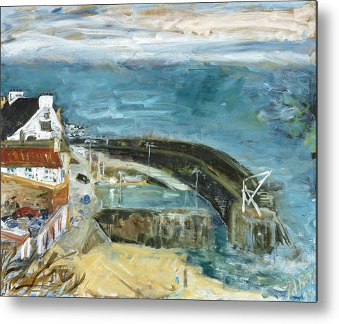 Sea Water Sky Houses Harbor Cars People Beach Wall Scotland Metal Print featuring the painting Crail Harbor by Joan De Bot