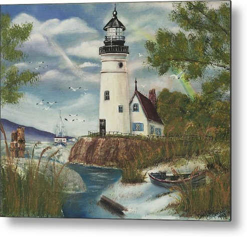 Metal Print featuring the painting Dads Lighthouse by Darlene Green