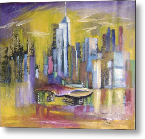 Imaginative Metal Print featuring the painting Dream City No.5 by Lian Zhen