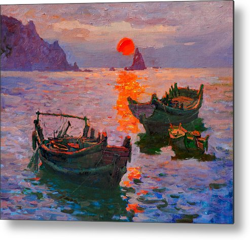 Morning Sea Sun Boat Metal Print featuring the painting Early Morning by Xichang Sun