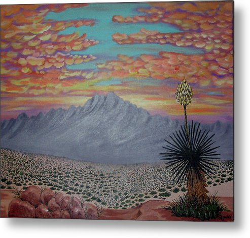 Desertscape Metal Print featuring the painting Evening In The Desert by Marco Morales