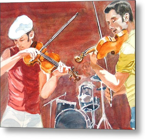 Musicians Metal Print featuring the painting Fiddles by Karen Ilari