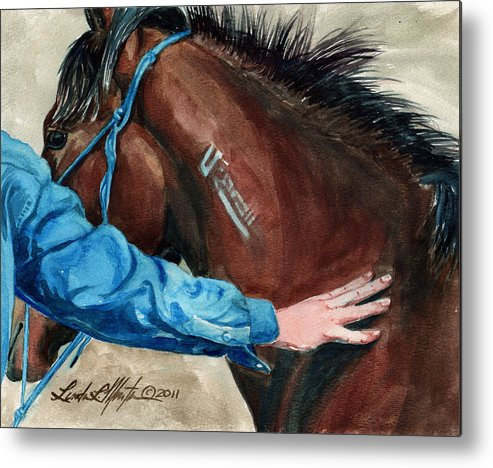 Mustang Makeover Metal Print featuring the painting First Touch by Linda L Martin