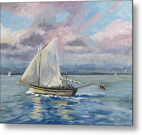 Sailing The Channel Metal Print featuring the painting Fishing The Channel by Jay Johnson
