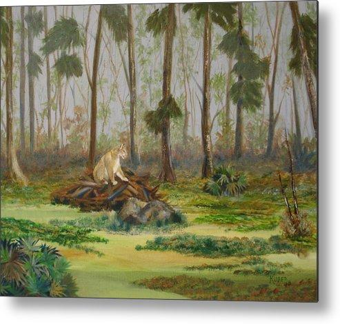 Florida Metal Print featuring the painting Florida Panther by Susan Kubes