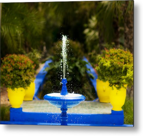Fountain Metal Print featuring the photograph Fountain In Jardin Majorelle Morocco by Beth Riser