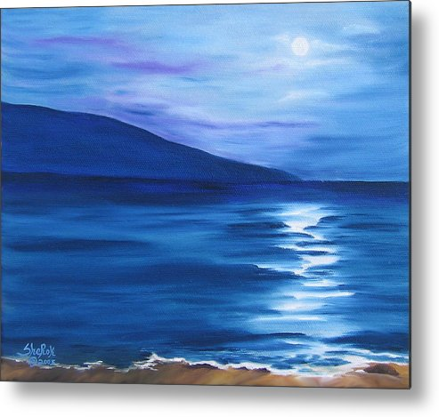 Landscape Metal Print featuring the painting Hanalei Moon by SheRok Williams