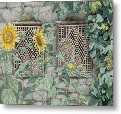 Jesus Looking Through A Lattice With Sunflowers Metal Print featuring the painting Jesus Looking Through A Lattice With Sunflowers by Tissot