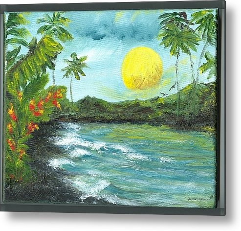 Beachscape Metal Print featuring the painting Kona Sunrise by Laura Johnson