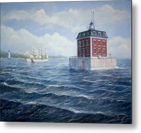 Lighthouse Metal Print featuring the painting Ledge Lighthouse by William H RaVell III
