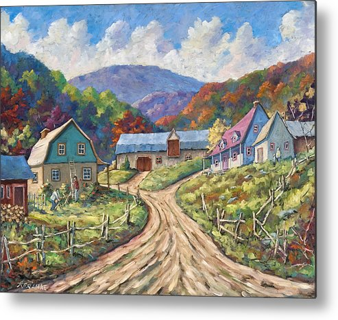 Country Metal Print featuring the painting My Country My Village by Richard T Pranke