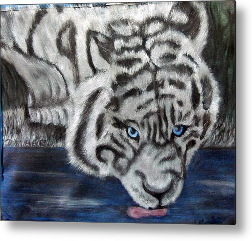 Whiter Tiger Metal Print featuring the painting Night Sipper Metallic Paints by Darlene Green
