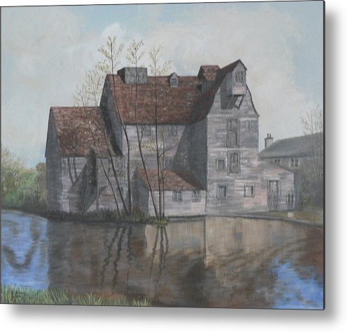 Grain Mill Metal Print featuring the painting Old English Mill by Dan Bozich
