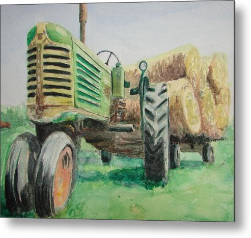 Tractor Paintings Metal Print featuring the painting Olivers Still Working by Patsy Kline
