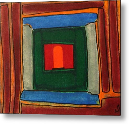 Inner View Of Temple Metal Print featuring the painting Sanctum Sanctorium by Vijayan Kannampilly