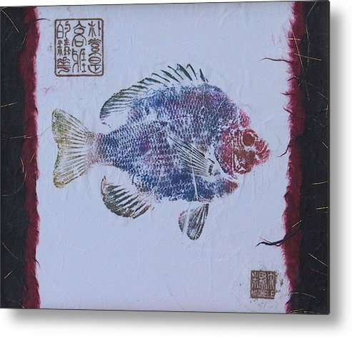 Gyotaku Metal Print featuring the mixed media Simpliciity Is The Heart Of Elegance by Michele Caporaso