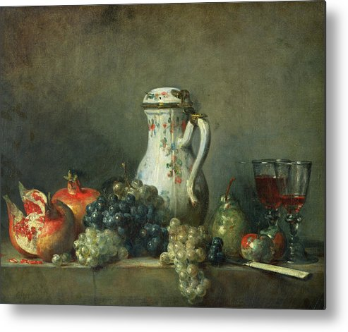 Still Life With Grapes And Pomegranates Metal Print featuring the painting Still Life With Grapes And Pomegranates by Jean-Baptiste Simeon Chardin