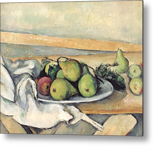 Still Metal Print featuring the painting Still Life With Pears by Paul Cezanne