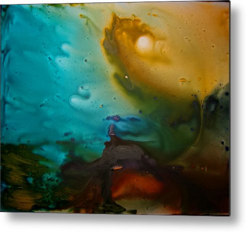Acrylic Abstract Yupo Turqoise Yellow Red Black Purple Water Storm Metal Print featuring the painting The Storm by Linda Powell