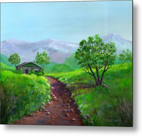 Landscape Metal Print featuring the painting The Trappers Cabin by SueEllen Cowan