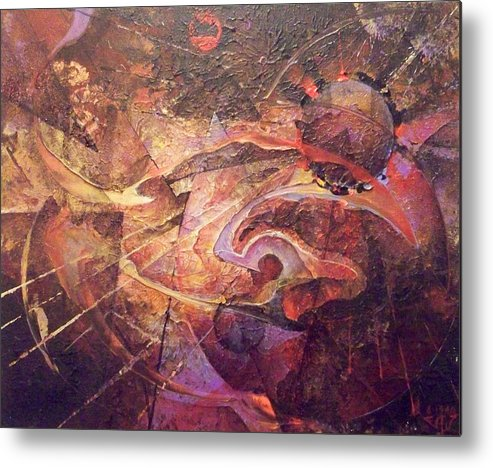 Abstract Metal Print featuring the painting Theorem by Fred Wellner