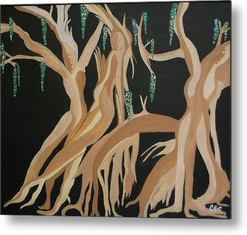 Feminine Metal Print featuring the painting Trinity  The Banyan Tree by Carolyn Cable