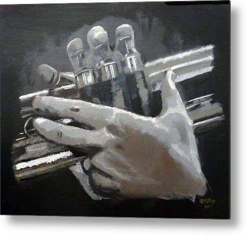 Trumpet Valves Metal Print featuring the painting Trumpet Hands by Richard Le Page