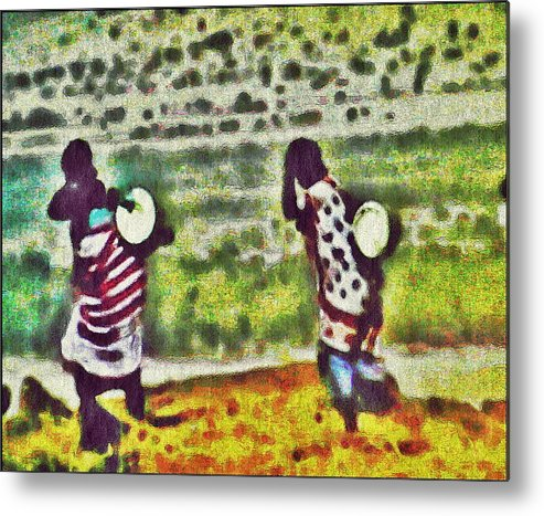 Abstract Metal Print featuring the digital art Two African Children by Jacqueline Mason