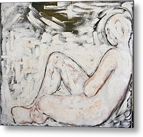 Nude Metal Print featuring the painting White On White by Jeannette Ulrich